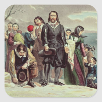 The Landing of the Pilgrims at Plymouth Square Sticker