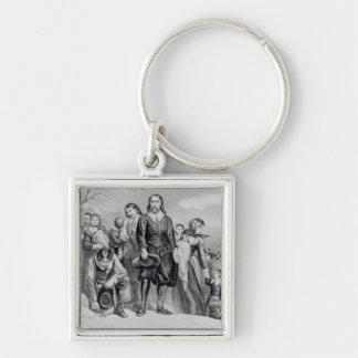 The Landing of the Pilgrims Silver-Colored Square Keychain
