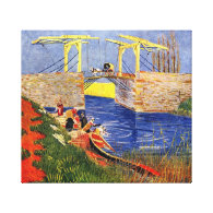 The Langlois Bridge at Arles with Women Washing Gallery Wrapped Canvas