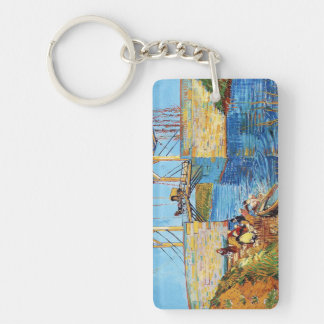 The Langlois Bridge at Arles with Women Washing Double-Sided Rectangular Acrylic Keychain