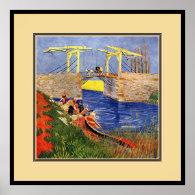 The Langlois Bridge at Arles with Women Washing Poster