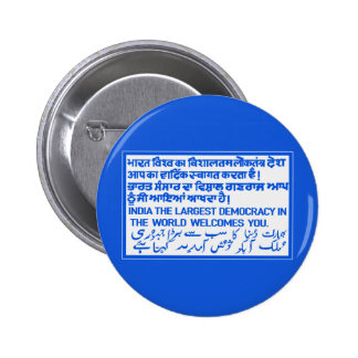 The Largest Democracy Sign, India 2 Inch Round Button