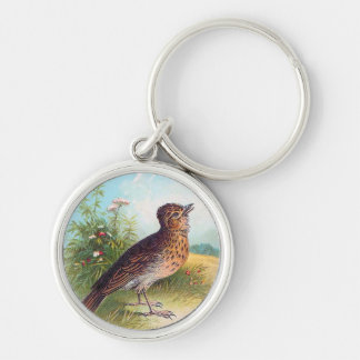 """""""The Lark"""" Vintage Illustration Silver-Colored Round Keychain"""