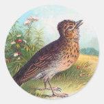 """The Lark"" Vintage Illustration Classic Round Sticker"