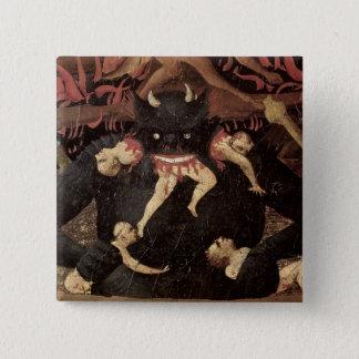 The Last Judgement, detail of Satan devouring Button