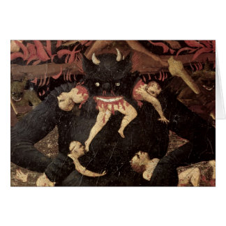 The Last Judgement detail of Satan devouring Greeting Cards