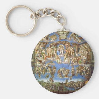 The Last Judgment Fresco by Michelangelo Keychain