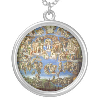 The Last Judgment Fresco by Michelangelo Silver Plated Necklace