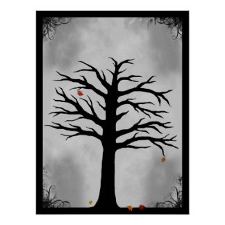 The Last Leaves of Fall - Spooky Tree Poster