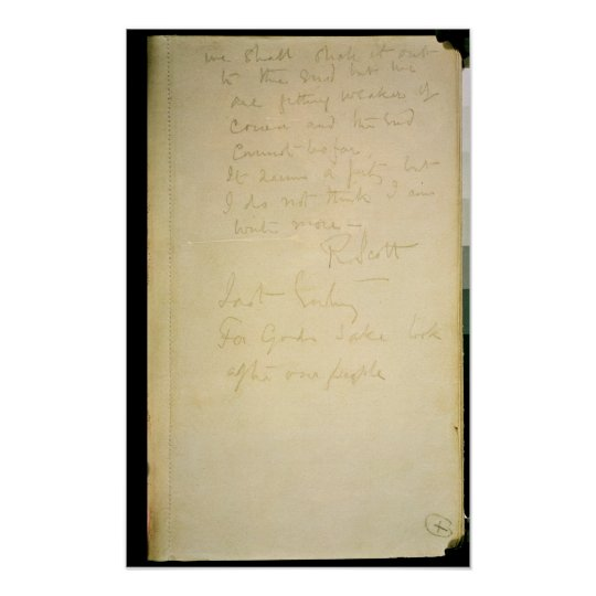 The last page of his diary, Antarctica Poster