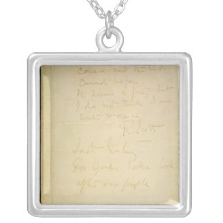 The last page of his diary, Antarctica Square Pendant Necklace