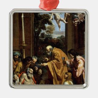 The Last Sacrament of St. Jerome, 1614 Square Metal Christmas Ornament