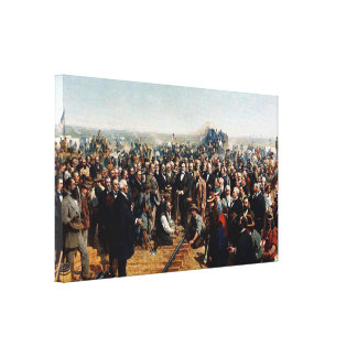The Last Spike by Thomas Hill - Dated 1881 Canvas Print