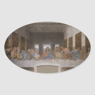 The Last Supper 1495-1498 Oval Stickers