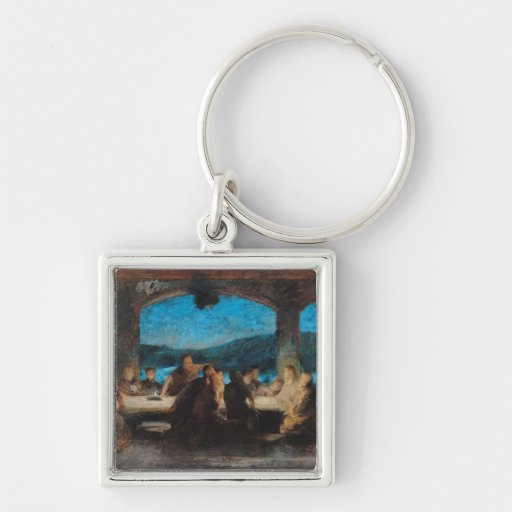 The Last Supper 3 Silver-Colored Square Keychain
