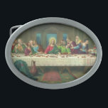 """The Last Supper by Leonardo da Vinci Belt Buckle<br><div class=""""desc"""">Vintage illustration religious Renaissance Era fine art reproduction painting of the Last Supper by Leonardo da Vinci. The Last Supper was the last meal Jesus Christ shared with his twelve apostles and disciples before his death. The Last Supper specifically portrays the reaction given by each apostle when the young man...</div>"""