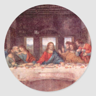 The Last Supper by Leonardo da Vinci, Renaissance Classic Round Sticker