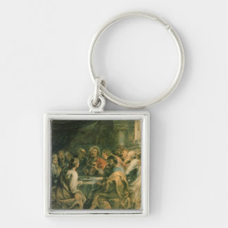 The Last Supper, c.1630-31 Silver-Colored Square Keychain