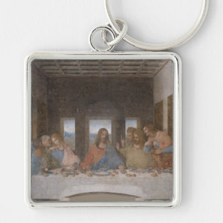 'The Last Supper' Silver-Colored Square Keychain