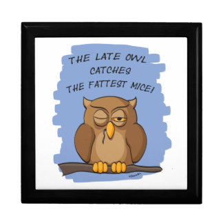 The Late Owl Catches The Fattest Mice! Jewelry Box