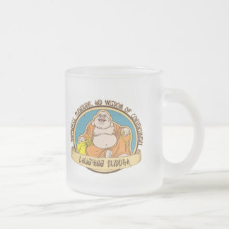 The Laughing Buddha Frosted Glass Coffee Mug