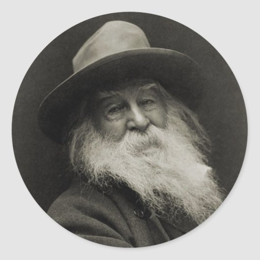 The Laughing Philosopher Poet Walt Whitman Round Stickers