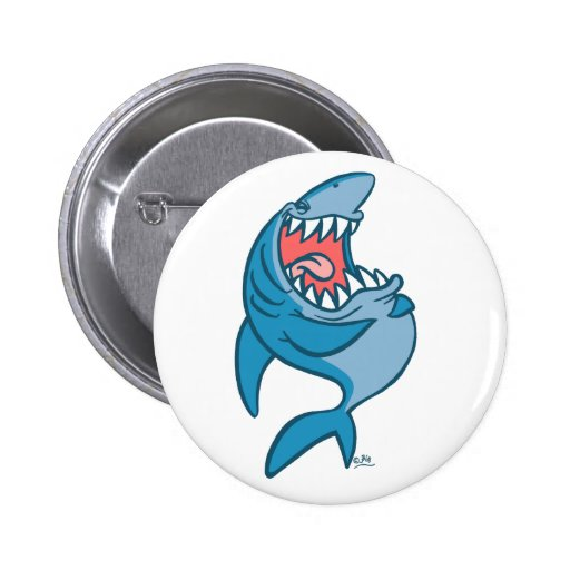 The Laughing Shark cartoon button badge