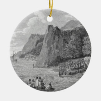 The Launch of the North West America at Nootka Sou Ceramic Ornament