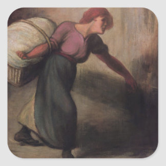 The Laundress, 1894 (oil on canvas) Square Sticker