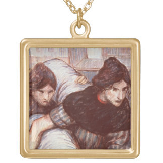 The Laundresses, 1898 (pastel on canvas) Square Pendant Necklace