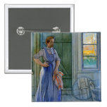 The Laundry Woman Looking at Washboard Pinback Buttons