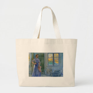 The Laundry Woman Looking at Washboard Jumbo Tote Bag