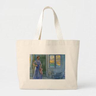The Laundry Woman Looking at Washboard Jumbo Tote Bag