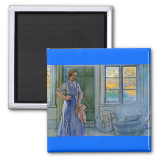 The Laundry Woman Looking at Washboard 2 Inch Square Magnet