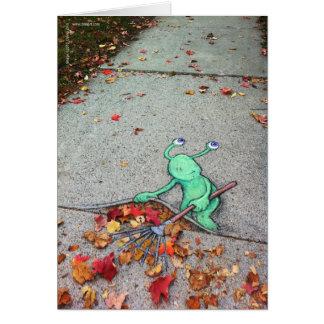 the lazy leaf-raker greeting cards