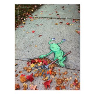 the lazy leaf-raker postcard