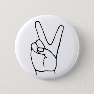 the lazy peace sign pinback button
