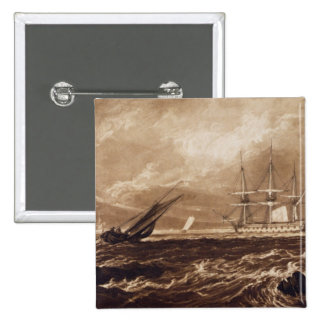 The Leader Sea Piece, engraved by Charles Turner ( 2 Inch Square Button