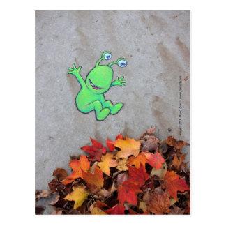 the leafpile bandit postcard