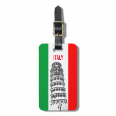 The Leaning Tower Of Pisa And The Italian Flag Luggage Tag
