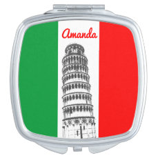 The Leaning Tower Of Pisa And The Italian Flag Makeup Mirror