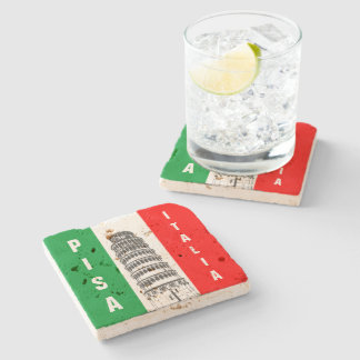 The Leaning Tower Of Pisa And The Italian Flag Stone Coaster