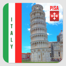 The Leaning Tower Of Pisa And The Pisan Cross Square Sticker