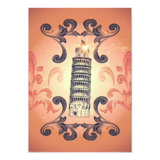 The leaning tower of Pisa 5x7 Paper Invitation Card