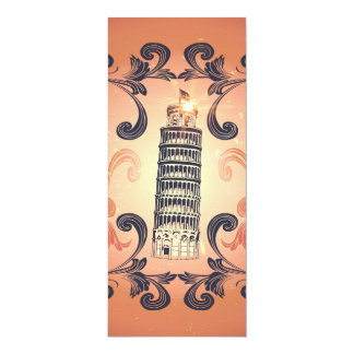 The leaning tower of Pisa 4x9.25 Paper Invitation Card