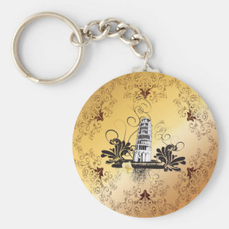 The leaning tower of Pisa Basic Round Button Keychain