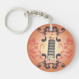 The leaning tower of Pisa Single-Sided Round Acrylic Keychain