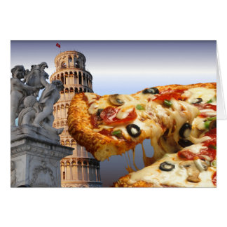 The Leaning Tower of Pizza (Pisa) Card