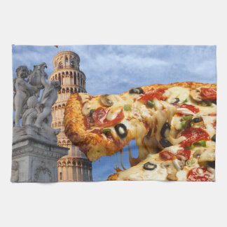 The Leaning Tower of Pizza (Pisa) Kitchen Towel