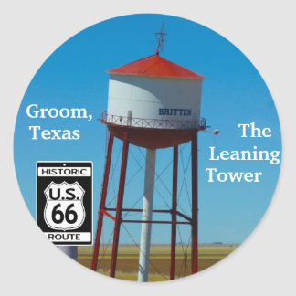 The Leaning Tower of Texas in Groom - Highway 66 Classic Round Sticker